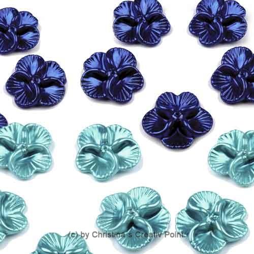 Blumen-Perlen blau & türkis 12 tlg.