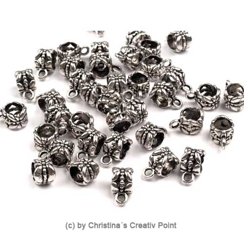 Metall-Perle mit Öse Schmetterling silbern 1 St.