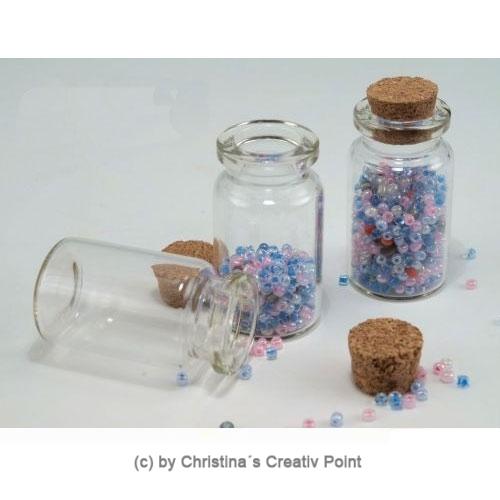20 mini glasflaschen 5 cm mit korken. Black Bedroom Furniture Sets. Home Design Ideas