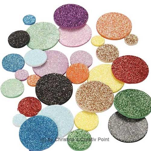 Moosgummi-Kreise mit Glitter selbstklebend 150 St.