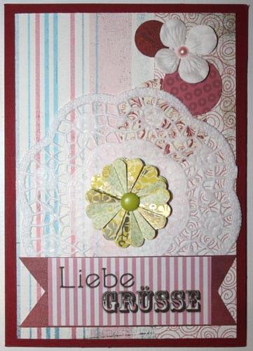 Grußkarte mit selbst gebastelter Papierblume aus Kreisen