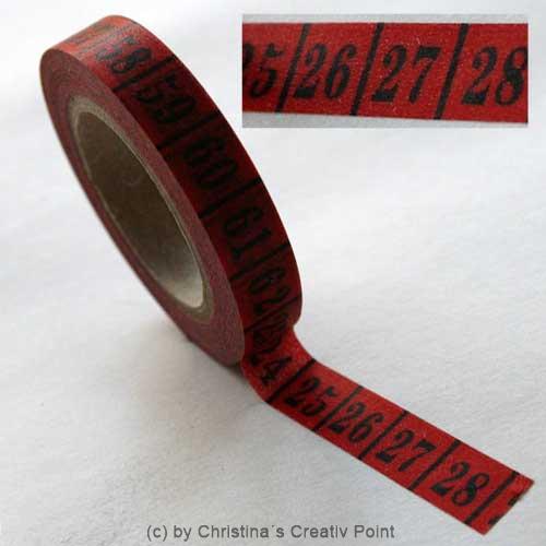 washi tape zahlen rot schwarz. Black Bedroom Furniture Sets. Home Design Ideas