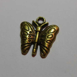 Anhänger / Charm Schmetterling messing 16 x 16 mm  -...