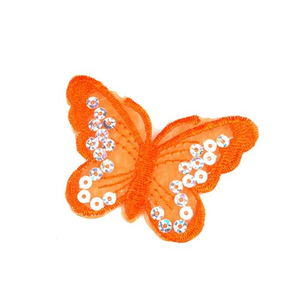 Aufbügler Schmetterling mit Pailletten orange - 5,5 x 8 cm