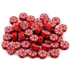Fimo-Perle Blume rot 11 mm
