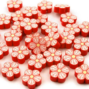 Fimo-Perle Blume rot 15 mm