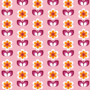 Fat Quarter Retro Blumen rosa 45 x 50 cm