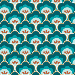 Fat Quarter Retro Muscheln blau 45 x 50 cm
