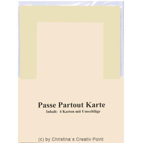 """Passepartout Karten """"Rechteck"""" Creme 4 Stück mit Umschlag"""