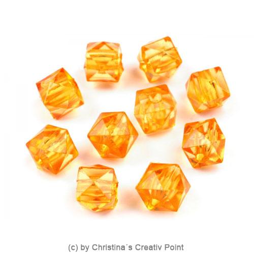 Kunststoffperlen Würfel 7 x 7 mm - Orange - 45 Stück