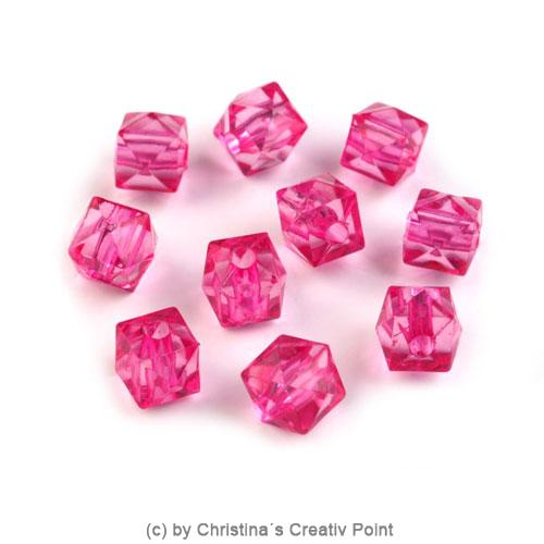 Kunststoffperlen Würfel 7 x 7 mm - Pink - 45 Stück