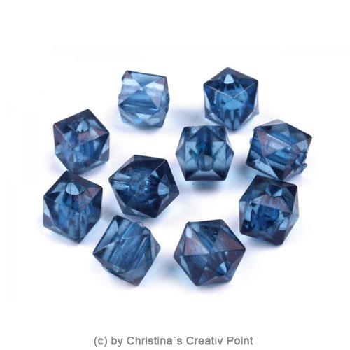 Kunststoffperlen Würfel 7 x 7 mm - Blau - 45 Stück