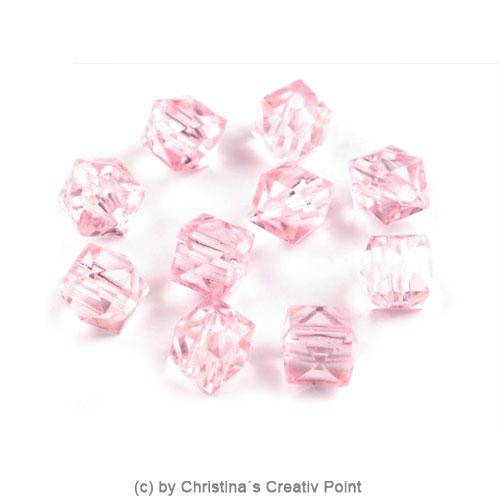 Kunststoffperlen Würfel 7 x 7 mm - Rosa - 45 Stück