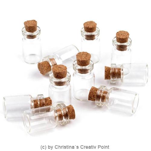 mini glasflasche mit korken w hle aus 4 gr en 25mm 40mm 50mm 75mm. Black Bedroom Furniture Sets. Home Design Ideas
