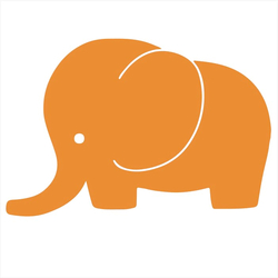 Bügelbild Elefant orange NEON