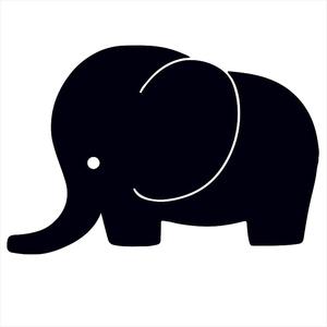 Bügelbild Elefant Schwarz