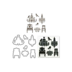 Hero Arts Cling Stamps + Stanzen Chairs & Chandeliers