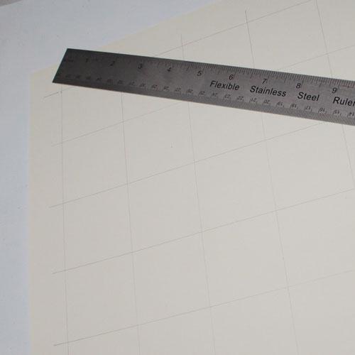 Gitternetz für die Kreis-Collage aufgezeichnet mit Bleistift und Lineal