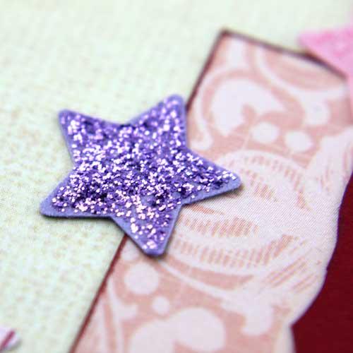 Stanzteil Stern mit Glitterglue Glitzerkleber Lila