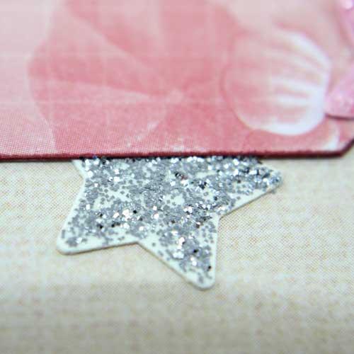Stanzteil Stern mit Glitzerkleber Silber